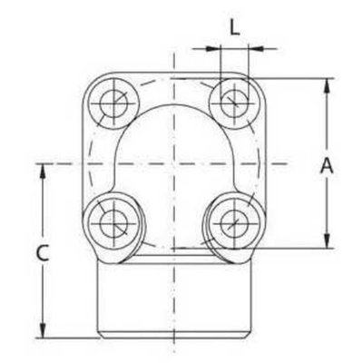 Pompflens haaks, 4  gaats M8 3/4'' BSP (40mm)