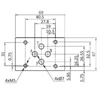 NG6 110V Cetop 4/3 stuurventiel met handbediening, ABPT gesloten