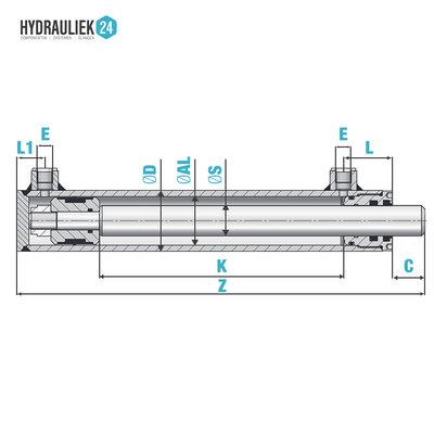 Dubbelwerkende cilinder 70x40x100 zonder bevestiging