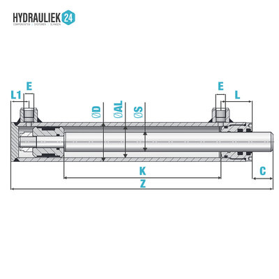 Dubbelwerkende cilinder 70x40x700 zonder bevestiging