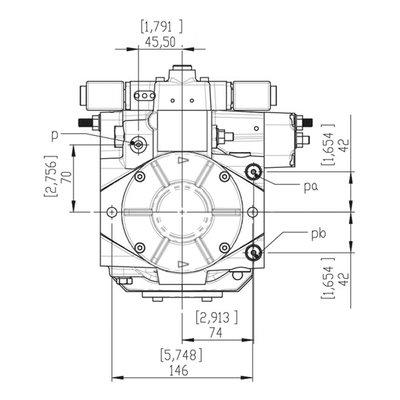 Gesloten Plunjerpomp - Verstelling elektrisch proportionaal met terugkoppeling 46L/min