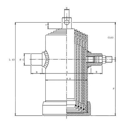 5 traps telescoopcilinder, ¯46-107mm, slag 690mm, 180 bar met oog