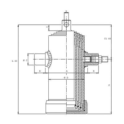 4 traps telescoopcilinder, ¯61-107mm, slag 830mm, 180 bar met oog