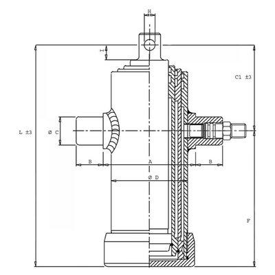 3 traps telescoopcilinder, Ø46-76mm, slag 500mm, 180 bar met oog