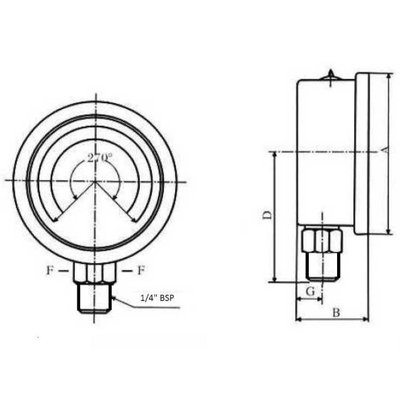 Manometer met onder aansluiting 100 mm, gevuld met glycerine, 1/2