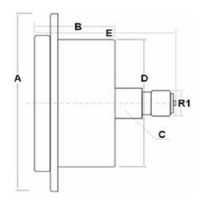 Manometer met achter aansluiting 100 mm, inbouw,  gevuld met glycerine, 1/2
