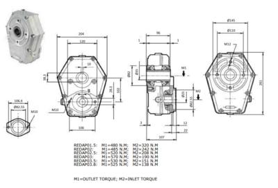 Tandwielkast hoog koppel 20 kW ratio 1:3,5 voor motor SAE-flens en 25mm as