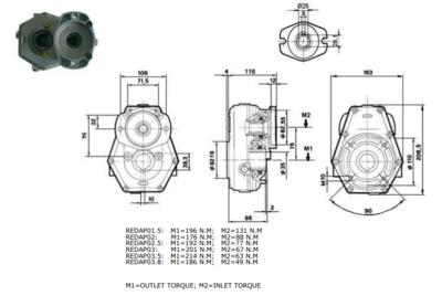 Tandwielkast standaard koppel 10 kW ratio 1:3,5 voor motor SAE-flens en 25mm as