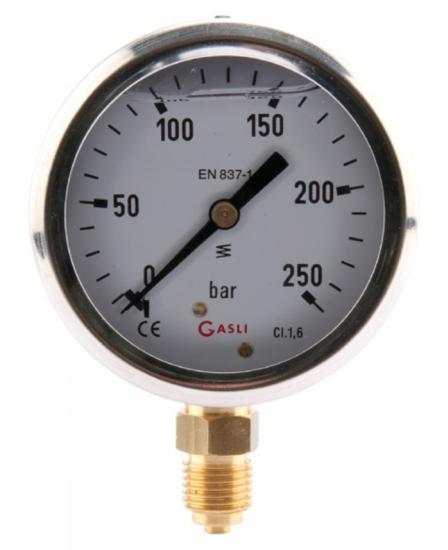 Afbeelding van Manometer aansluiting onder 63mm rvs gevuld met glycerine 0-40 bar