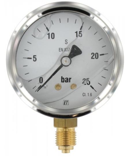 Afbeelding van Manometer aansluiting onder 63mm rvs gevuld met glycerine 0-25 bar