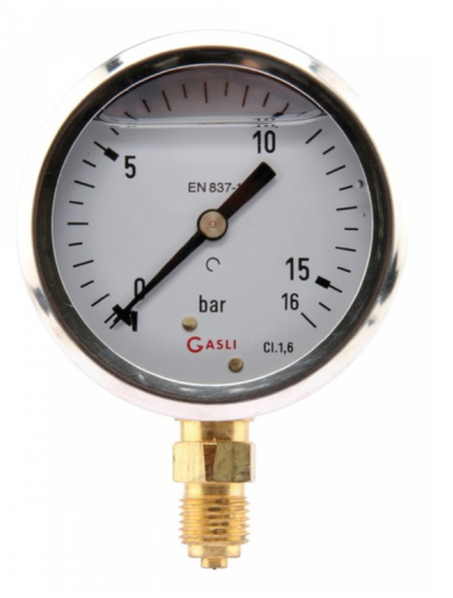 Afbeelding van Manometer aansluiting onder 63mm rvs gevuld met glycerine 0-16 bar