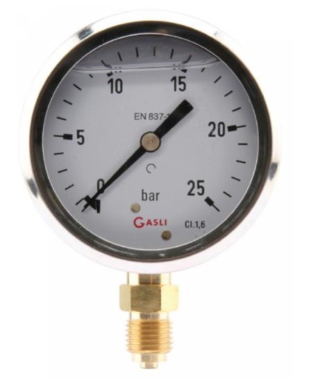 Afbeelding van Manometer aansluiting onder 63mm rvs gevuld met glycerine 0-6 bar