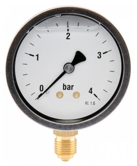 Afbeelding van Manometer aansluiting onder 63mm rvs gevuld met glycerine 0-4 bar