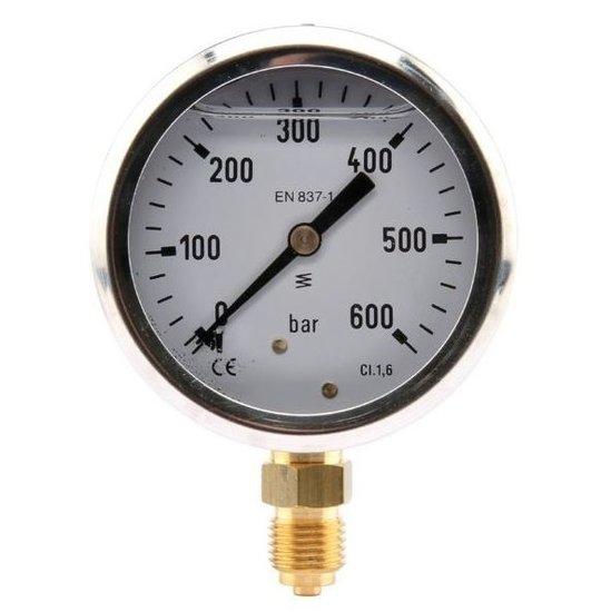 Afbeelding van Manometer aansluiting onder 63mm rvs gevuld met glycerine 0-600 bar