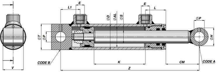 Dubbelwerkende cilinder 40x25x600 met bevestiging