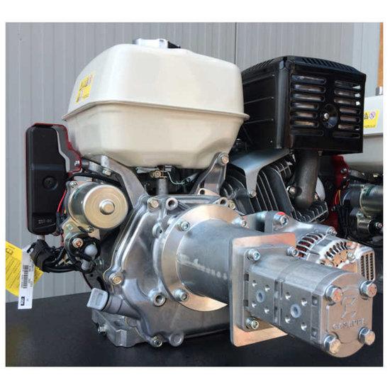 Afbeelding van HondaGX390 (QXE4) benzinemotor met voor gemonteerde tandwielpomp pompgroep 2 en 40A dynamo
