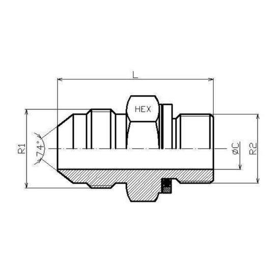 """Afbeelding van BSP 1/2"""" - JIC 3/4"""" 16h UNF male inschroefkoppeling"""