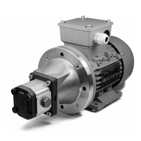 1,1 kW, 230V, elektromotor met voor gemonteerde tandwielpomp, pompgroep 1
