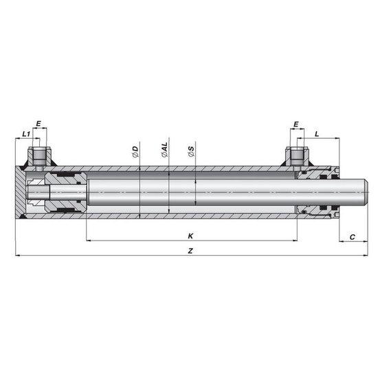 Afbeelding van Dubbelwerkende cilinder 40x25 op maat