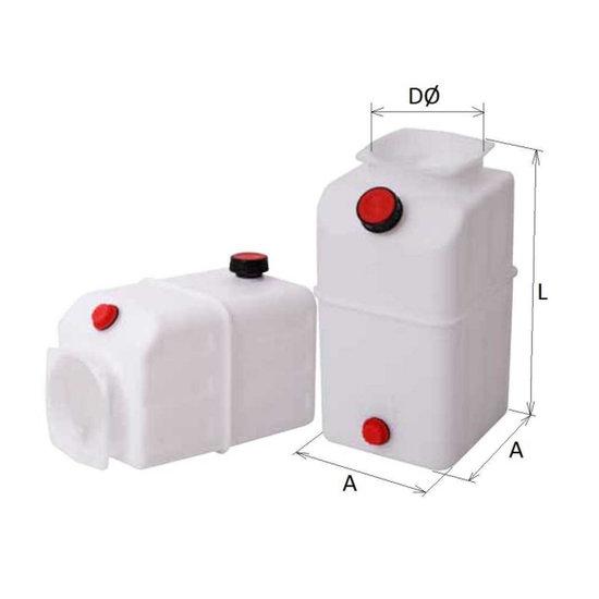Afbeelding van 5L Mini powerpack tank plastic horizontaal en verticaal