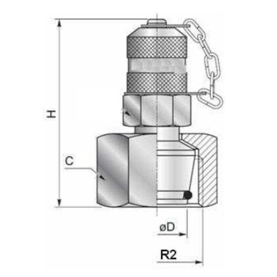 Afbeelding van Minimess koppeling female - 12L (M18x1,5) met metrische wartel en o-ring