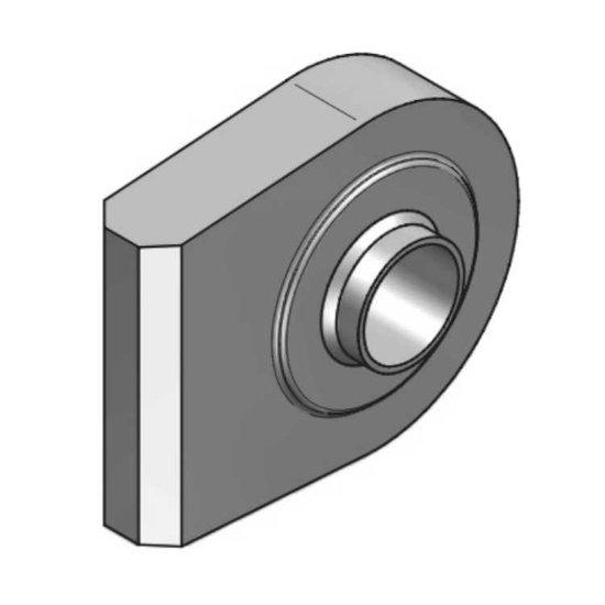 Afbeelding van HM1 topstangoog lang met binnendiameter 28,4 mm voor cilinder met boring Ø70 mm, breedte 45 mm