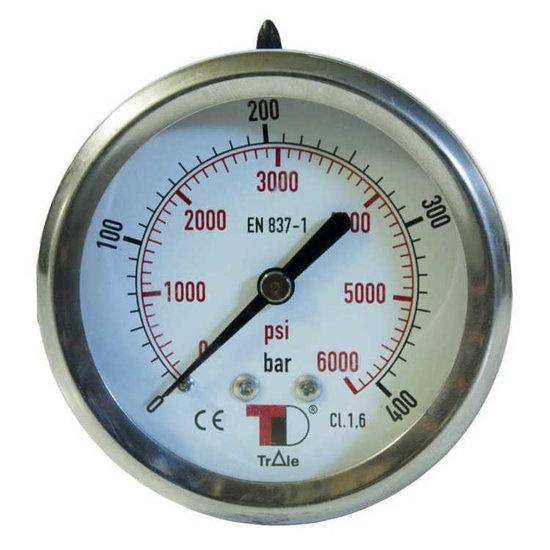 """Afbeelding van Manometer met achter aansluiting 63 mm, gevuld met glycerine, 1/4"""" BSP, 0-6 bar"""
