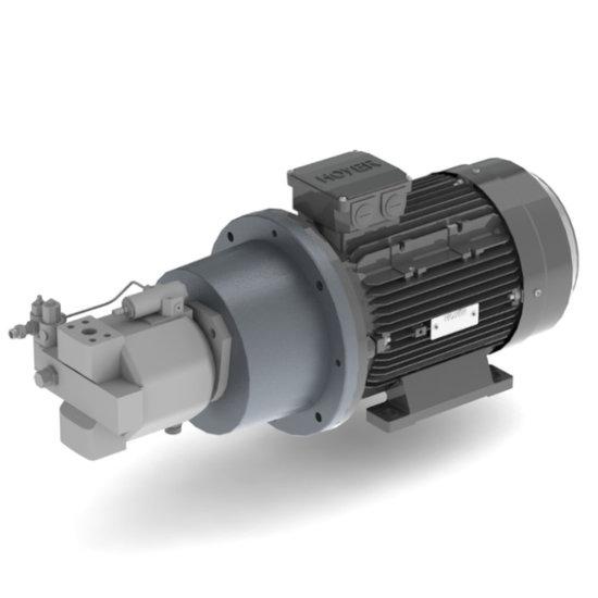 Afbeelding van 7,5 kW, 230/400 V, elektromotor met voor gemonteerde plunjerpomp 28 cc (regelbaar)