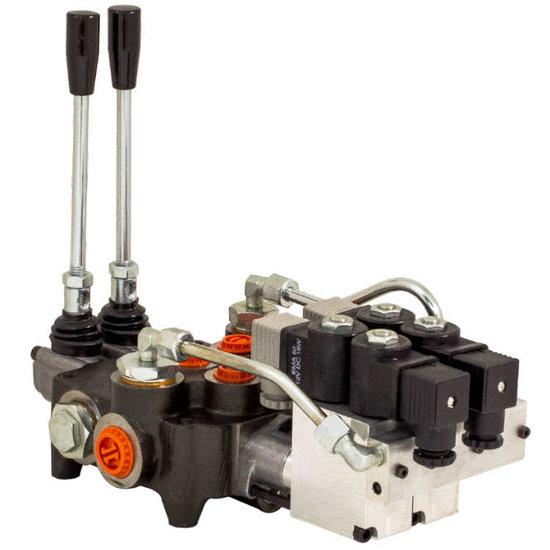 Afbeelding van 4P80 4 sectie 12V elektrisch- handbediend stuurventiel 80 l/min