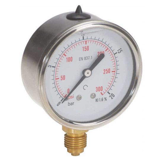 "Afbeelding van Manometer met onder aansluiting 100 mm, gevuld met glycerine, 1/2"" BSP, 0-2,5 bar"