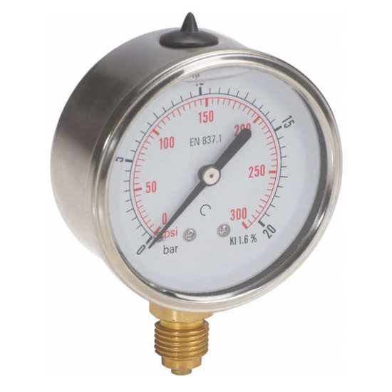 "Afbeelding van Manometer met onder aansluiting 100 mm, gevuld met glycerine, 1/2"" BSP, 0-20 bar"