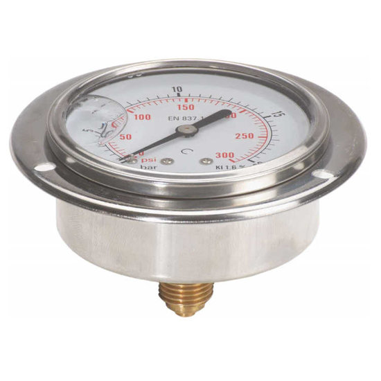 """Afbeelding van Manometer met achter aansluiting 100 mm, inbouw, gevuld met glycerine, 1/2"""" BSP, 0-16 bar"""
