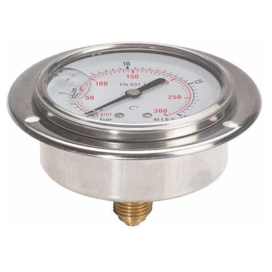 """Afbeelding van Manometer met achter aansluiting 100 mm, inbouw, gevuld met glycerine, 1/2"""" BSP, 0-250 bar"""