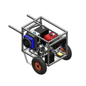 Hydrauliek aggregaat powerpack met 13 pk benzinemotor complete set